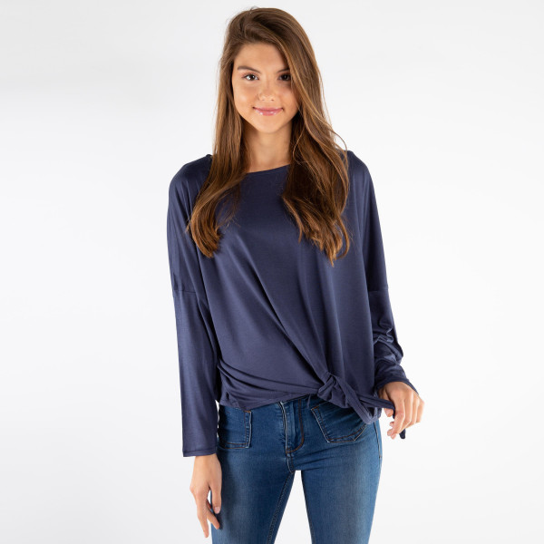 Wholesale soft long sleeve top relaxed fit front tie viscose polyester One