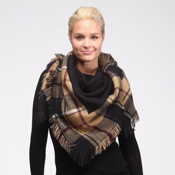 Wholesale two reversible plaid blanket scarf frayed edges acrylic