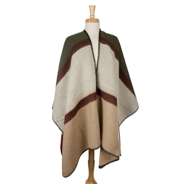 Wholesale heavyweight cape multicolored square pattern black stitching edges acr