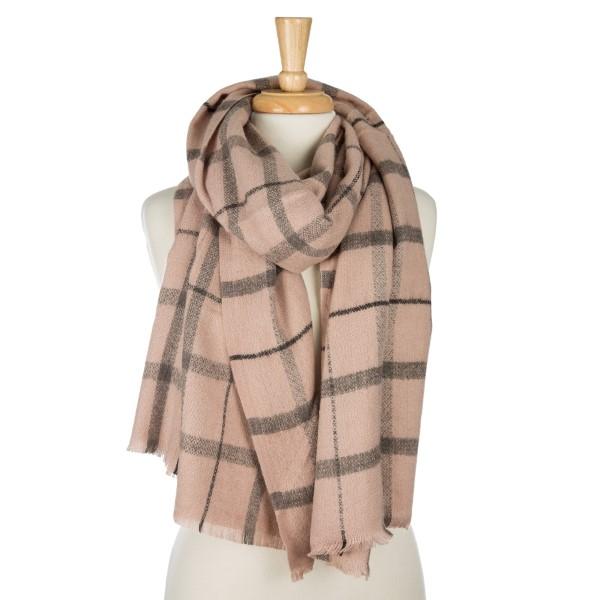 Wholesale mauve gray plaid open scarf frayed edges acrylic