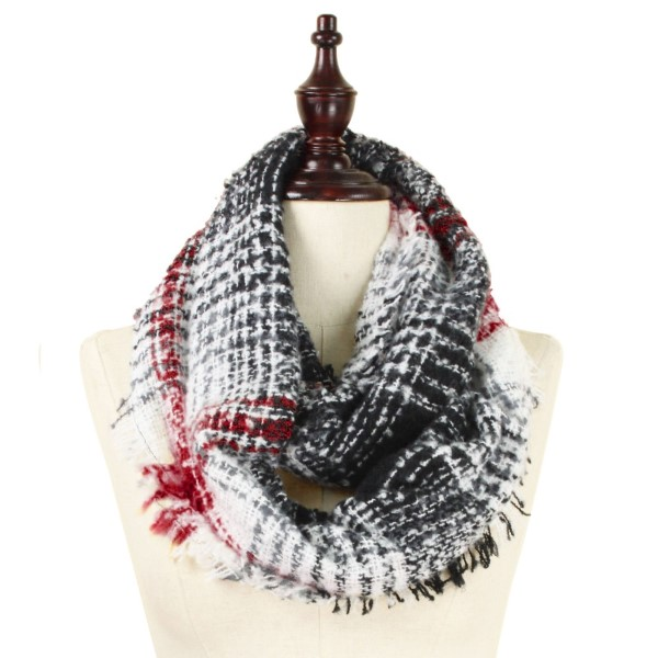 Wholesale heavyweight knit infinity scarf plaid print acrylic
