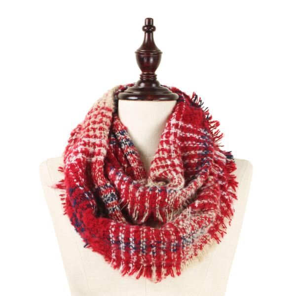 Wholesale heavyweight knit infinity scarf plaid print acrylic