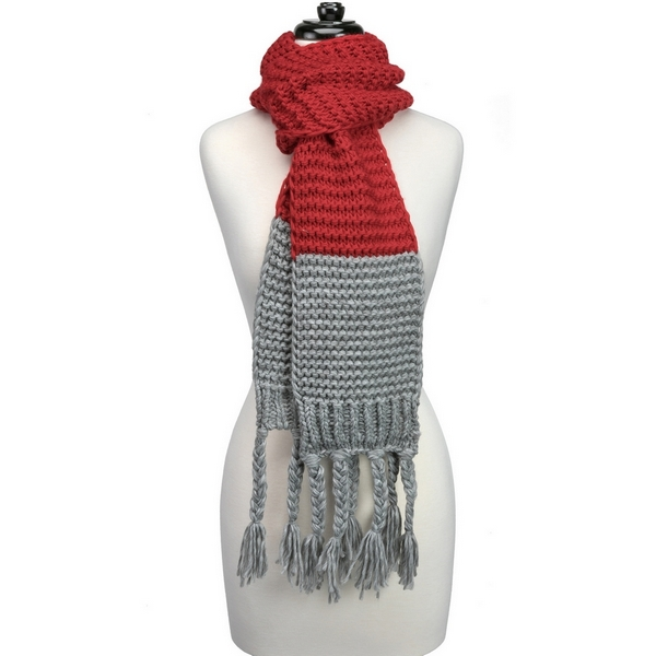 Wholesale heavyweight knit open scarf two pattern tassels ends gameday