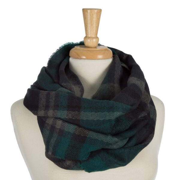 Wholesale heavyweight plaid infinity scarf acrylic
