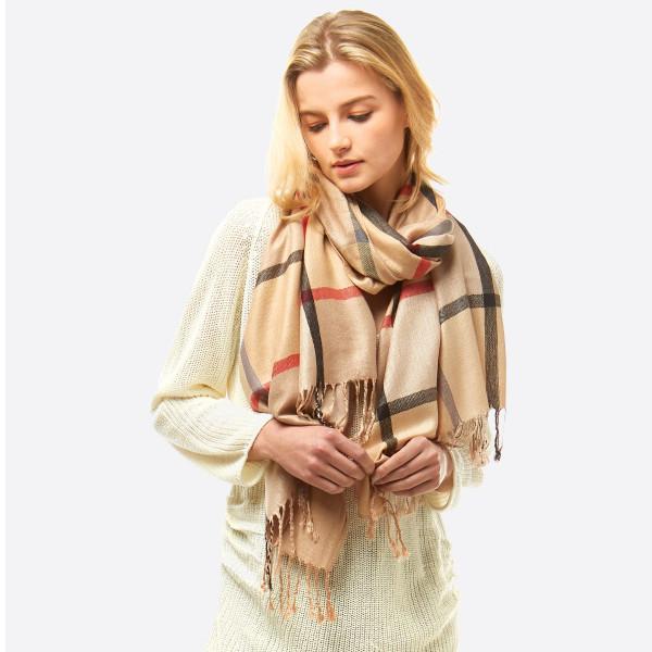 Wholesale lightweight plaid scarf frayed edges W L Viscose