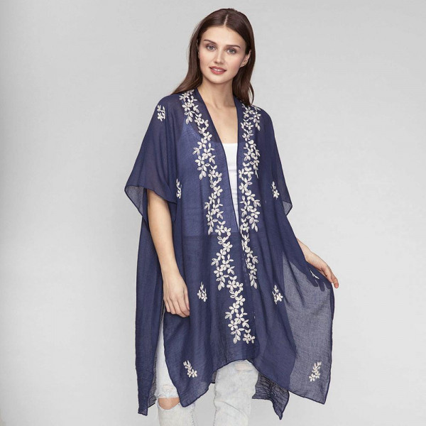 Wholesale lightweight short sleeve kimono floral embroidery viscose polyester On