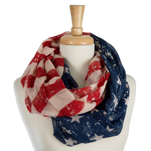 Wholesale lightweight American flag printed infinity scarf polyester