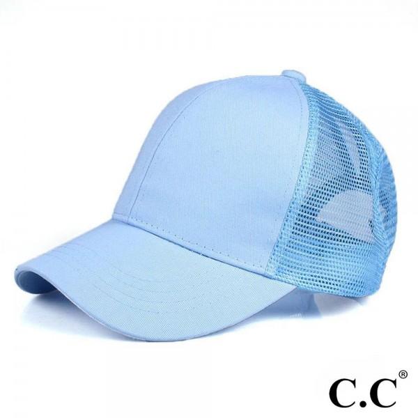 Wholesale cC Pony Cap BT CC ponytail hat mesh back Adjustable velcro back CC lea