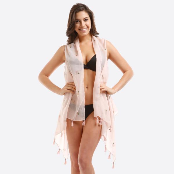 Wholesale lightweight sleeveless vest glitter pineapple print polyester One fits