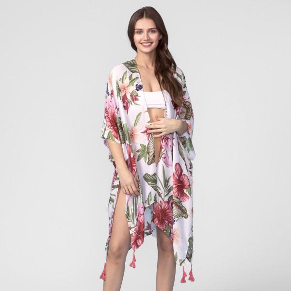 Wholesale lightweight short sleeve kimono floral print tassel accent polyester O