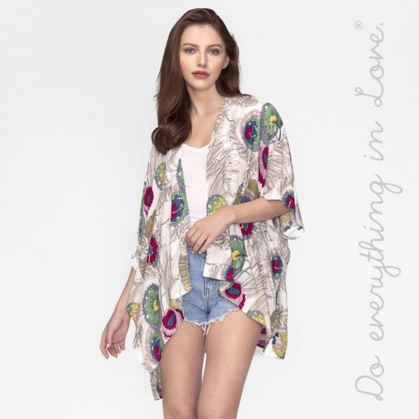 Wholesale lightweight short sleeve kimono floral print viscose One fits most