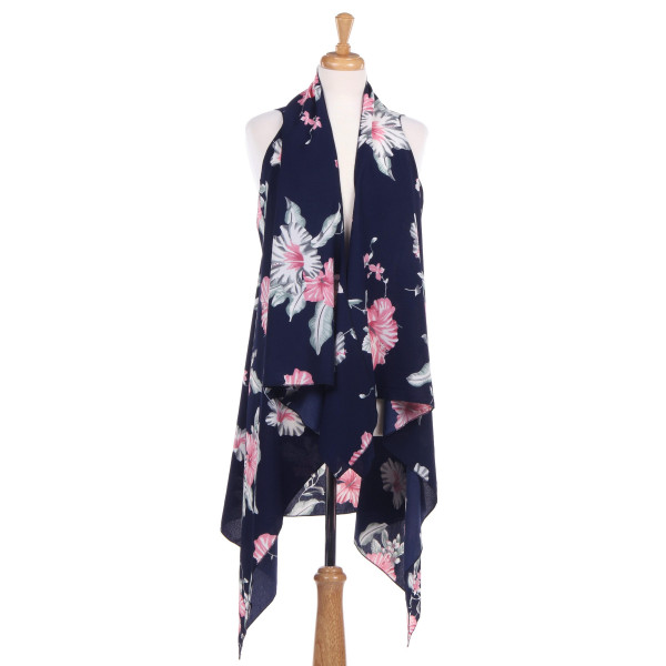 Wholesale sleeveless vest large floral print acrylic One fits most