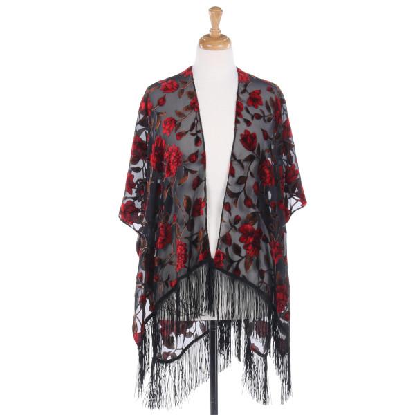 Wholesale sleeveless vest large floral print burnout velvet accents fringe detai
