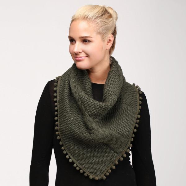 Wholesale cable knit infinity scarf pom pom trim acrylic