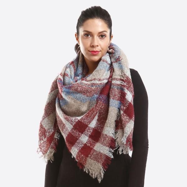 Wholesale soft knit plaid blanket scarf acrylic