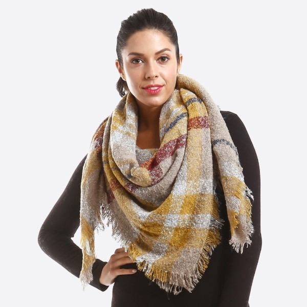 Wholesale soft knit plaid blanket scarf acrylic