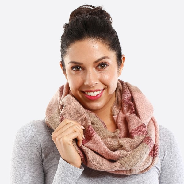 Wholesale plaid multi color infinity scarf acrylic