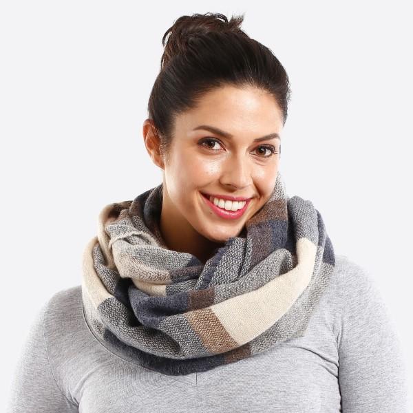 Wholesale plaid multi color infinity scarf acrylic