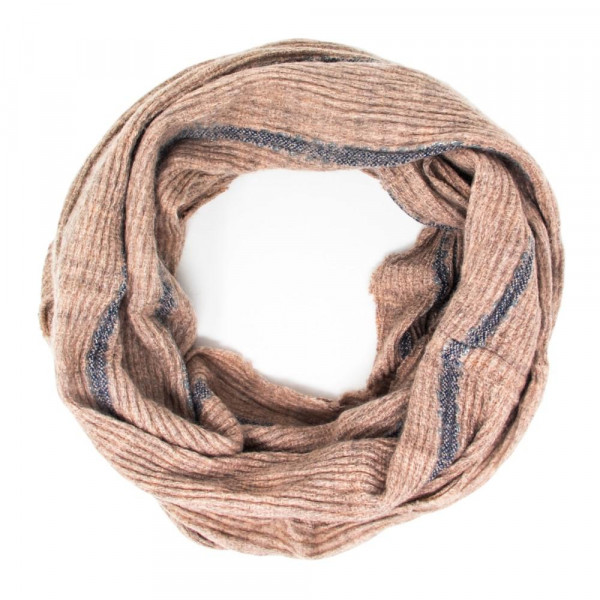 Wholesale solid color infinity scarf stripe details Acrylic
