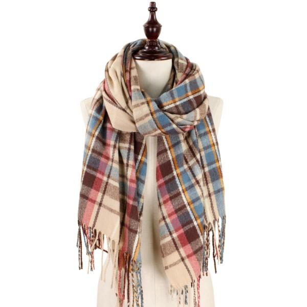 Wholesale heavyweight plaid scarf fringe acrylic