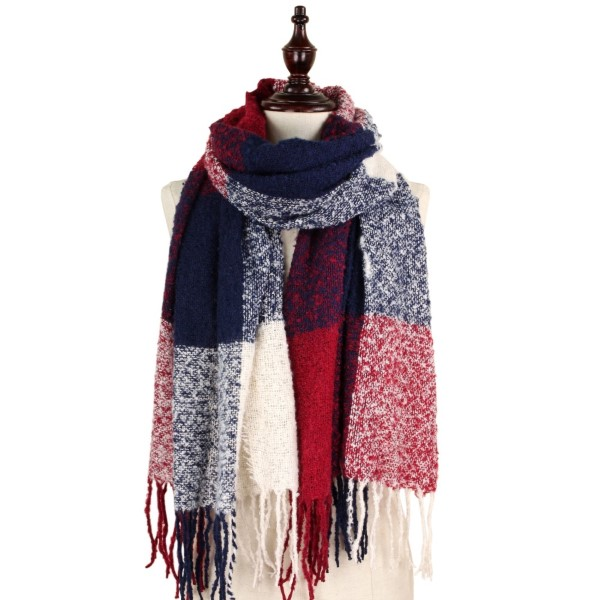 Wholesale soft knit check scarf fringe acrylic