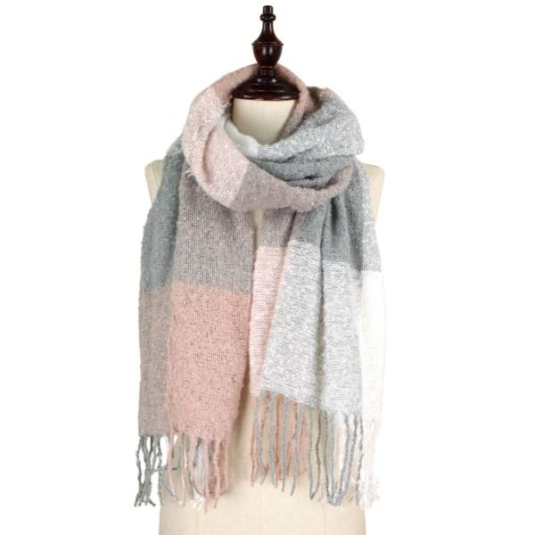 Wholesale soft knit check scarf fringe acrylic