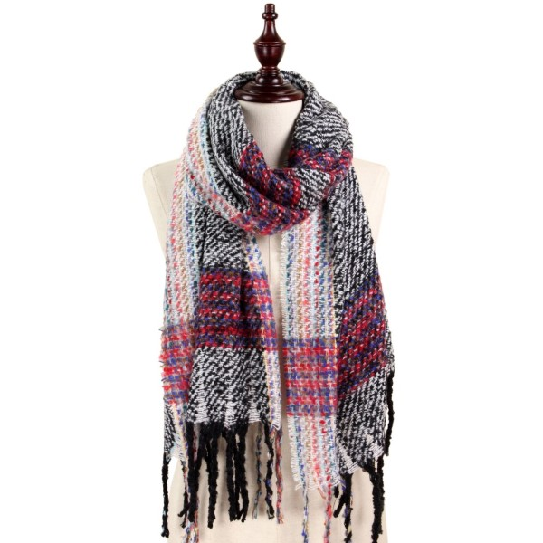 Wholesale soft touch plaid scarf fringe acrylic polyester