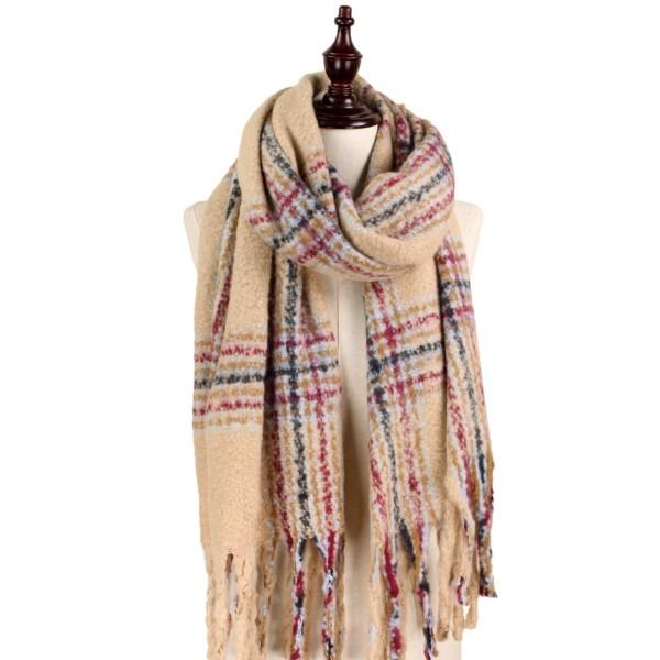 Wholesale soft knit plaid scarf fringe acrylic polyester