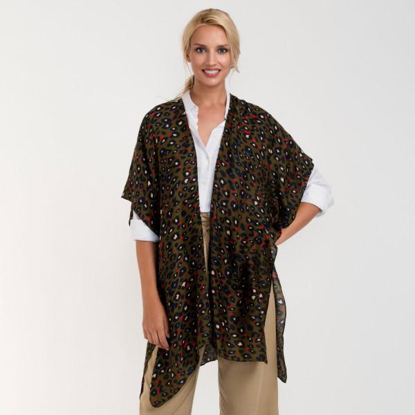 Wholesale leopard print long kimono viscose L W