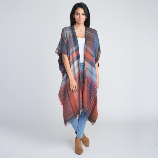 Wholesale nice long heavyweight plaid kimono acrylic One fits most