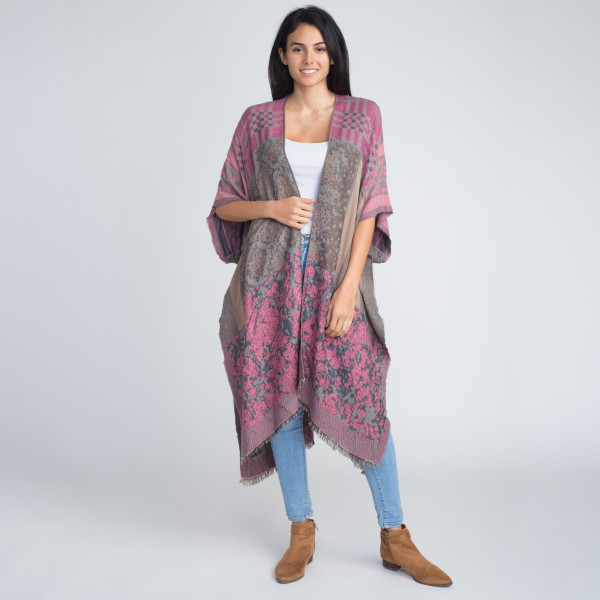 Wholesale long comfy mixed pattern kimono acrylic One fits most