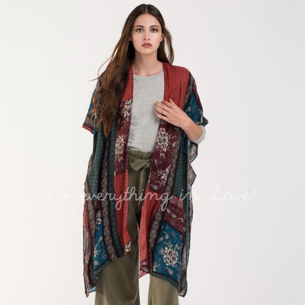 Wholesale mixed pattern kimono viscose L W
