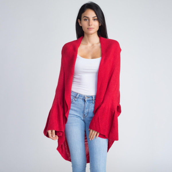 Wholesale cocoon long knit cardigan ruffle sleeves One fits most Acrylic Wool
