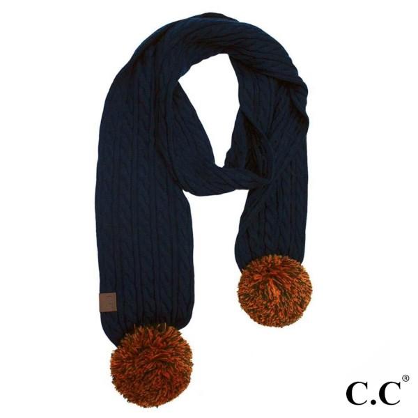 Wholesale c C SK Skinny scarf knit pom Acrylic One fits most W L Pom