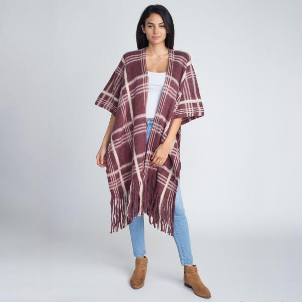 Wholesale heavyweight plaid print kimono acrylic One fits most