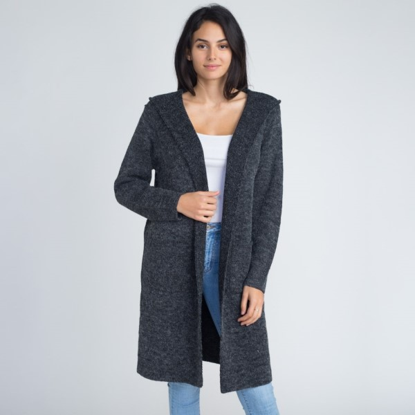 Wholesale hooded cardigan front pocket details One fits most Acrylic Cotton