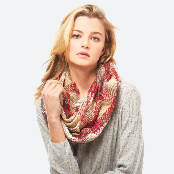 Wholesale plaid infinity scarf acrylic
