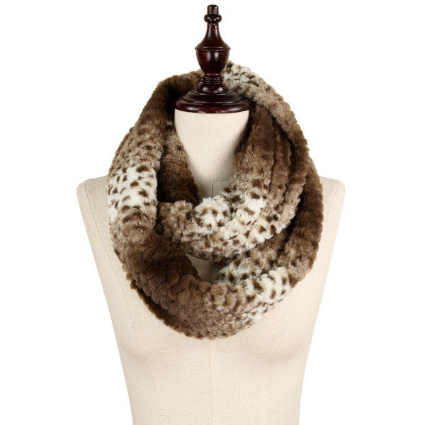 Wholesale animal print faux fur infinity scarf acrylic