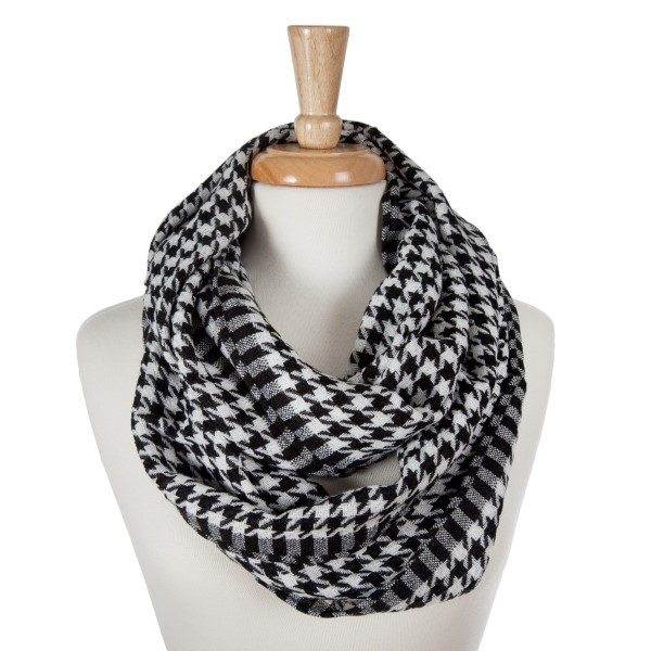 Wholesale lightweight knitted houndstooth infinity scarf