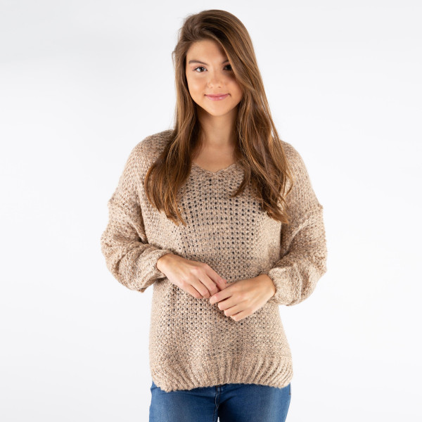 Wholesale soft long sleeve knit sweater Made acrylic cotton One S L