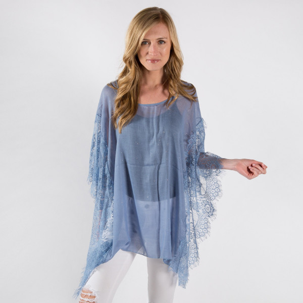 Wholesale light weight sheer poncho lace sleeves cotton polyester