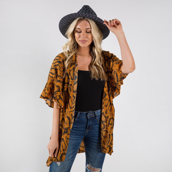 Wholesale light weight kimono cover up snake skin details polyester