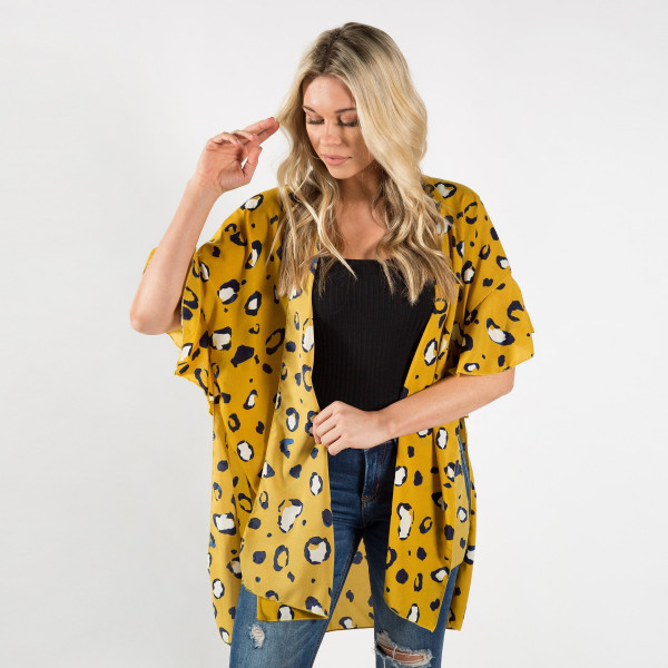 Wholesale animal print kimono cover up Light weight polyester