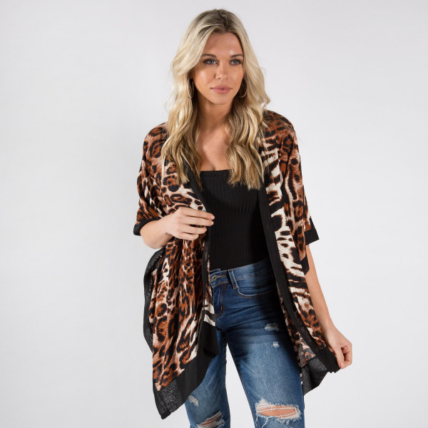Wholesale animal print kimono viscose