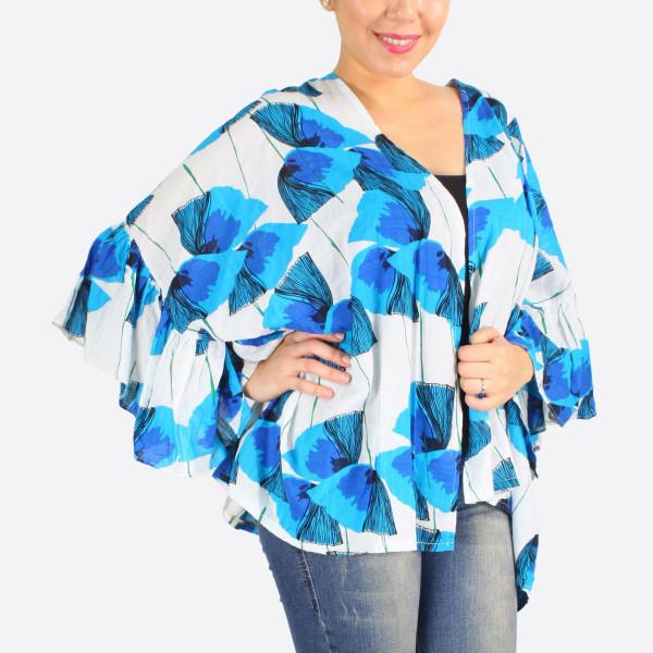 Wholesale solid color ruffle sleeves kimono cotton viscose