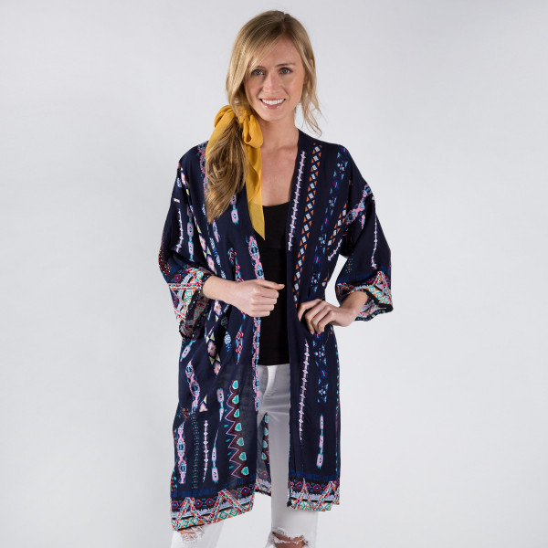 Wholesale light weight aztec print kimono viscose