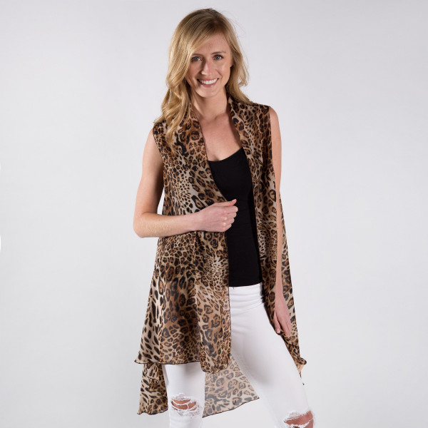 Wholesale leopard Print Chiffon Vest Polyester One fits most