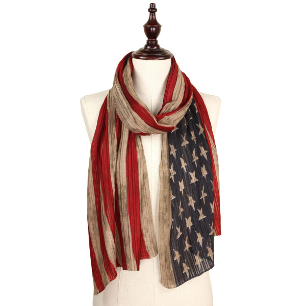 Wholesale pleated American flag scarf polyester