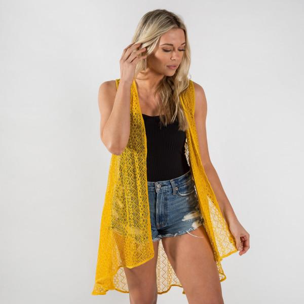 Wholesale long lace vest polyester