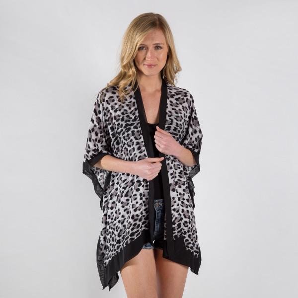 Wholesale sheer animal print bordered kimono viscose